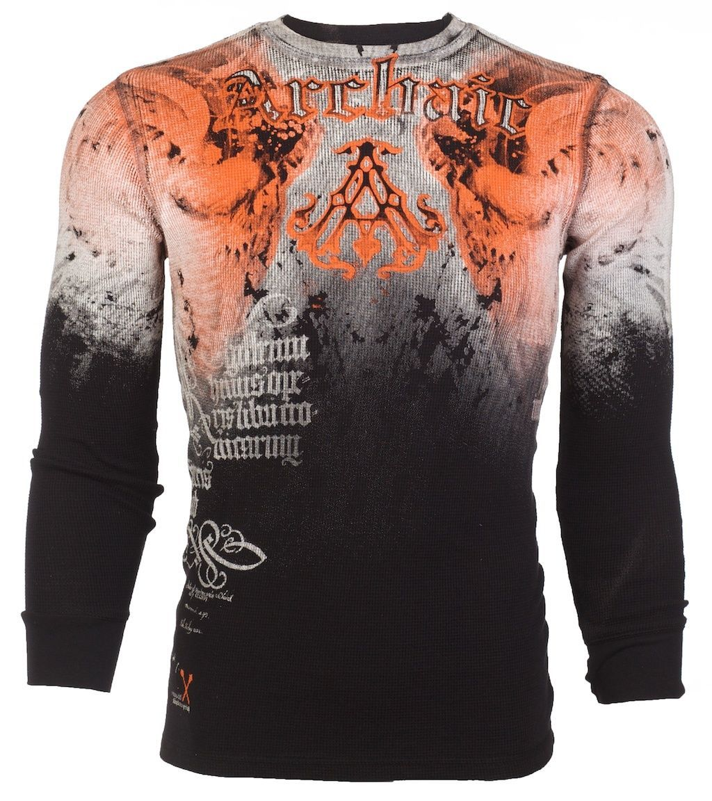 Archaic AFFLICTION Men THERMAL T-Shirt NIGHTWATCHER Skulls Biker UFC S-3XL $58 c