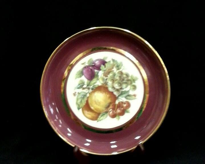 Vintage Hyalyn Porcelain 8 Inch Shelf Plate Decorated With Fruit and Gold From Late 1940\u0027s by ShabbyCandleAntiques on Etsy & Vintage Hyalyn Porcelain 8 Inch Shelf Plate Decorated With Fruit and ...