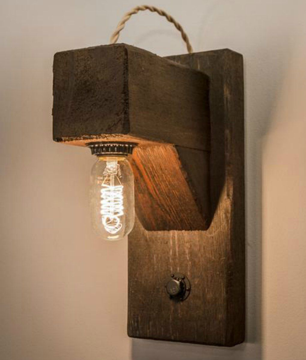 Rustic wood beam wall sconce with edison bulb light bulb beams