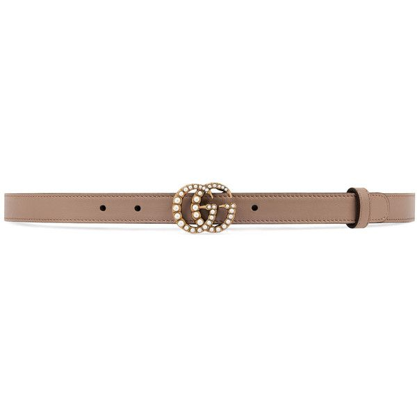 0d11002c90c4b Gucci Leather Belt With Pearl Double G Buckle (3570 MAD) ❤ liked on Polyvore  featuring accessories
