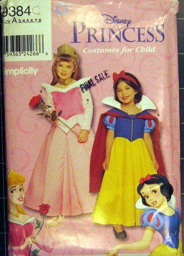 Costume pattern: girls DISNEY PRINCESS Snow White & Sleeping Beauty ...