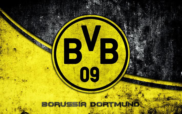 Download Wallpapers 4k Borussia Dortmund Grunge Logo Bvb Football Club Bundesliga Football Besthqwallpapers Com Borussia Dortmund Wallpaper Bundesliga Logo Football Team