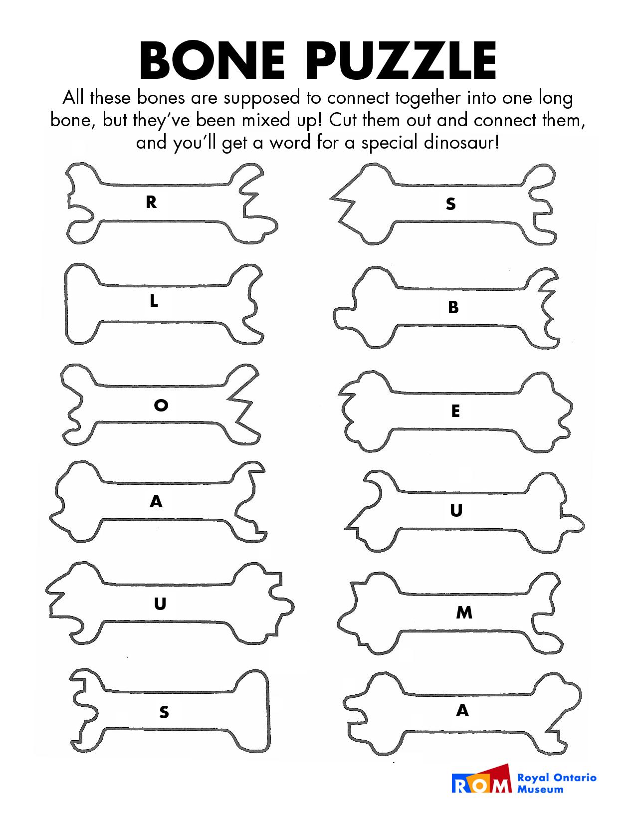 Dinosaur Bones Template Bone Puzzle