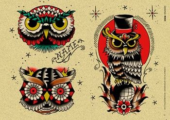 Old School Owl Tattoos Set Arte Sobre La Piel Pinterest