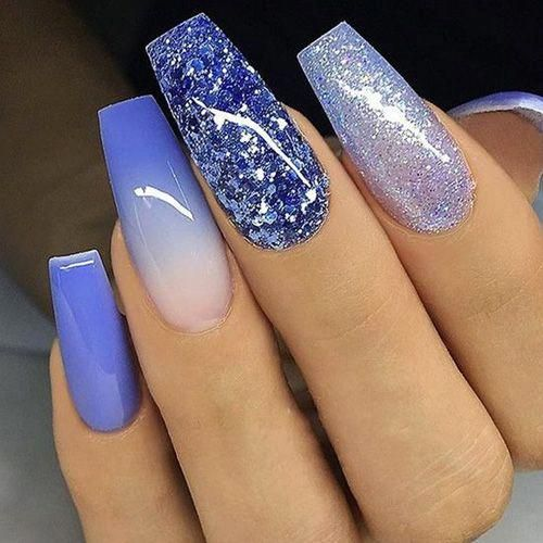Coffin Nails 40 Of The Best Coffin Nails For 2020 Blue Glitter