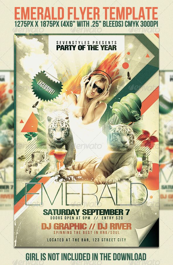 Emerald Flyer Template | Flyer Template, Print Templates And Party