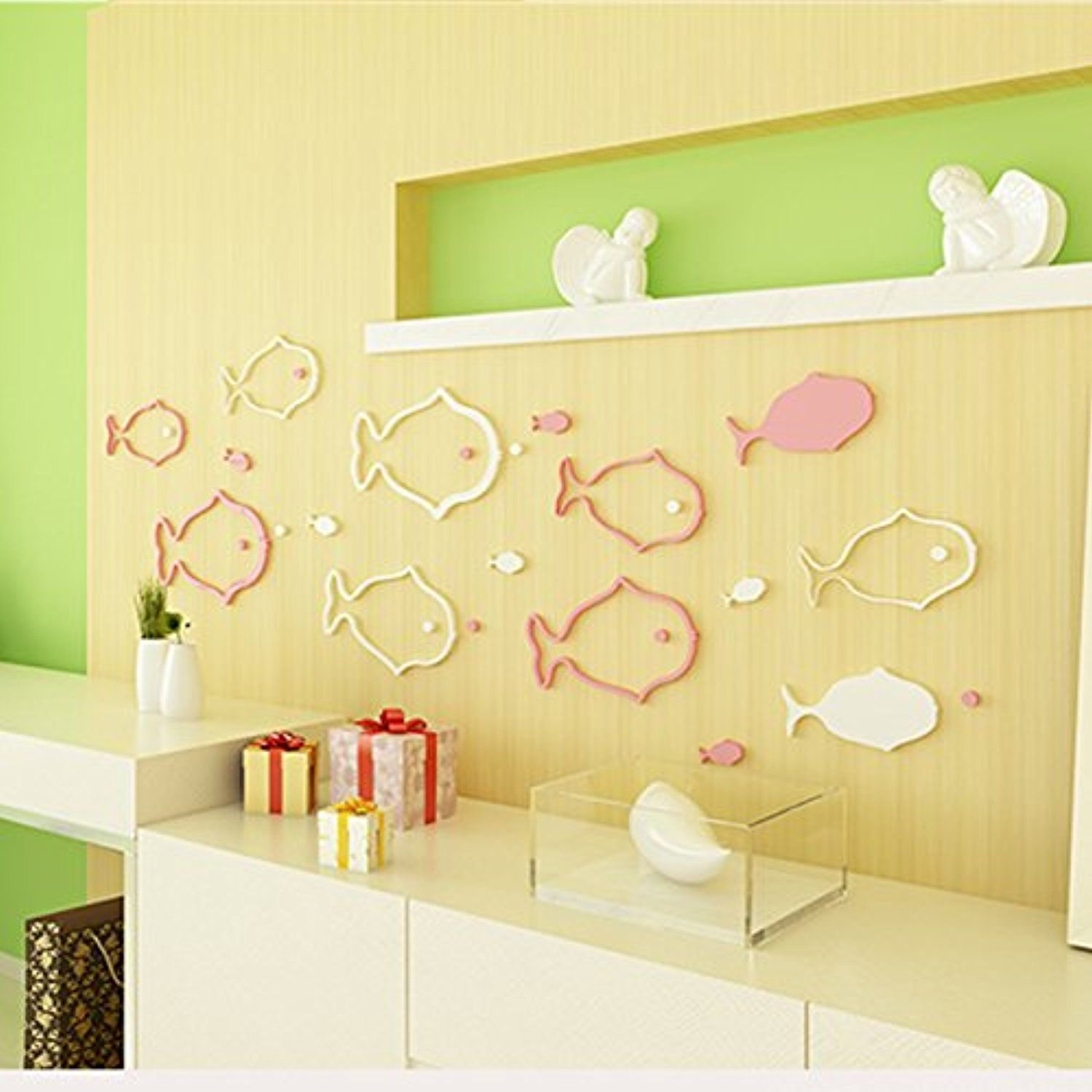 3D Wooden Tropical Fish Stencil Set Wall Stickers Reusable Home DÃ ...