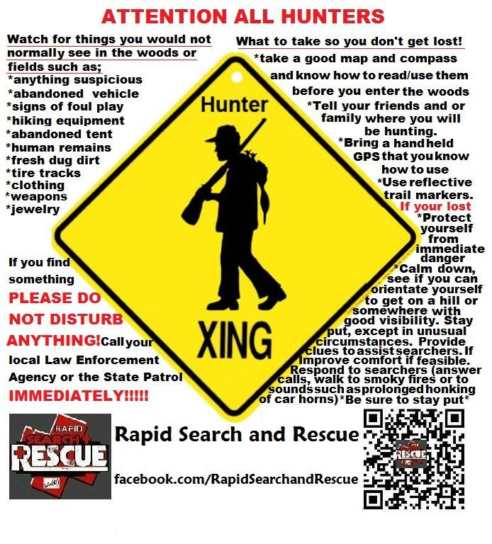 Hunter Info & Tips To assist with Amber Alerts and missing