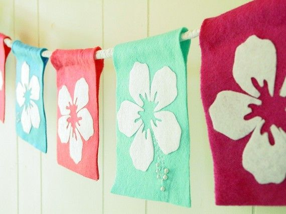 Hawaiian luau themed felt party banner or room by TaffieWishes, $35.00