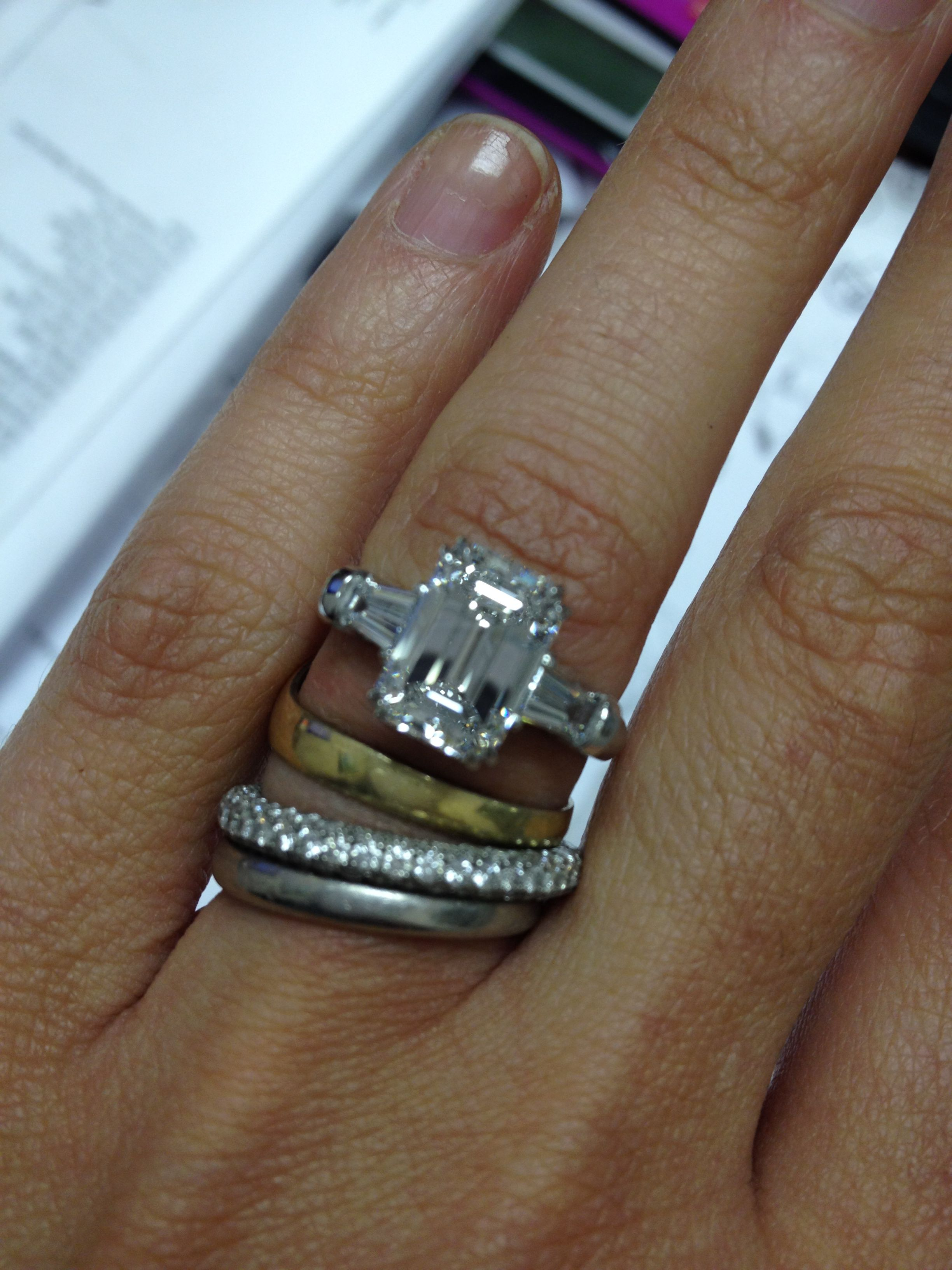 Harry Winston style Emerald cut and tapered baguette setting