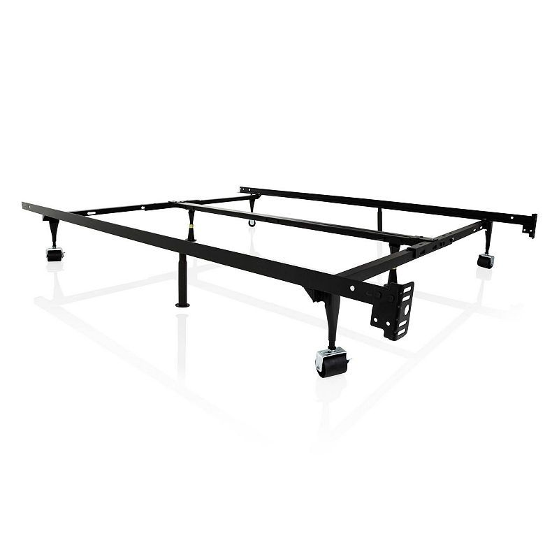 Malouf Structures Universal Adjustable Metal Bed Frame With Rollers Bed Frame Wheels Metal Beds Steel Bed Frame