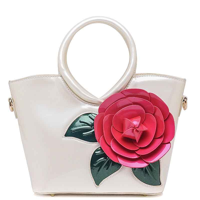 49.25$  Buy now - http://alig8u.worldwells.pw/go.php?t=32739391866 - Luxury Women Handbags 2016 New Ladies Fashion National Style Patent Leather Floral Totes Solid Color Crossbody Shoulder Bags