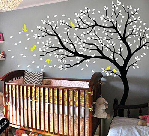 Stickers mural grand arbre cerisier en fleur blanc sticker mural pour chambre d 39 enfant salon - Stickers muraux chambre enfant ...