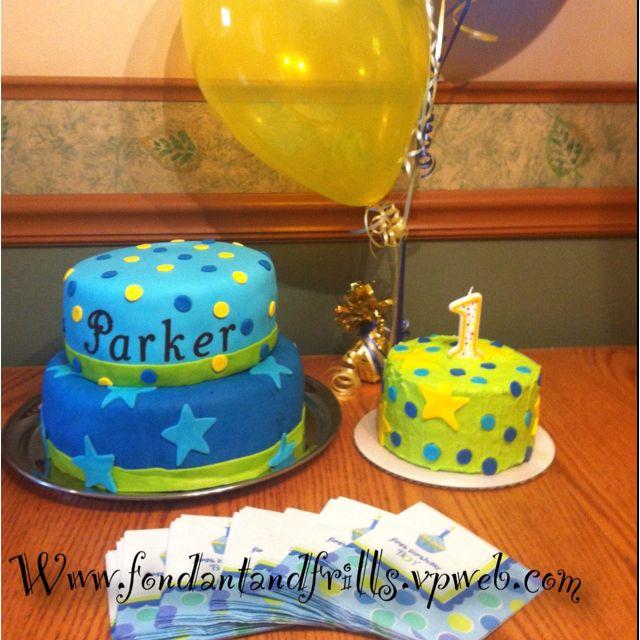 First Birthday Cake with smash cake-Boy. Blue yellow and green & First Birthday Cake with smash cake-Boy. Blue yellow and green ...