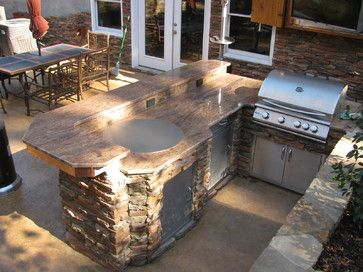 Cnd Teppanyaki Grill Outdoor Kitchen Island With Stone And Bar Top By Cookndine