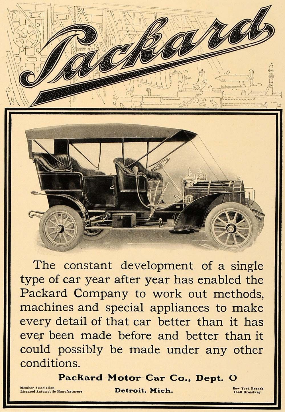 1906 Ad Antique Packard Motor Car Detroit Michigan - ORIGINAL ...