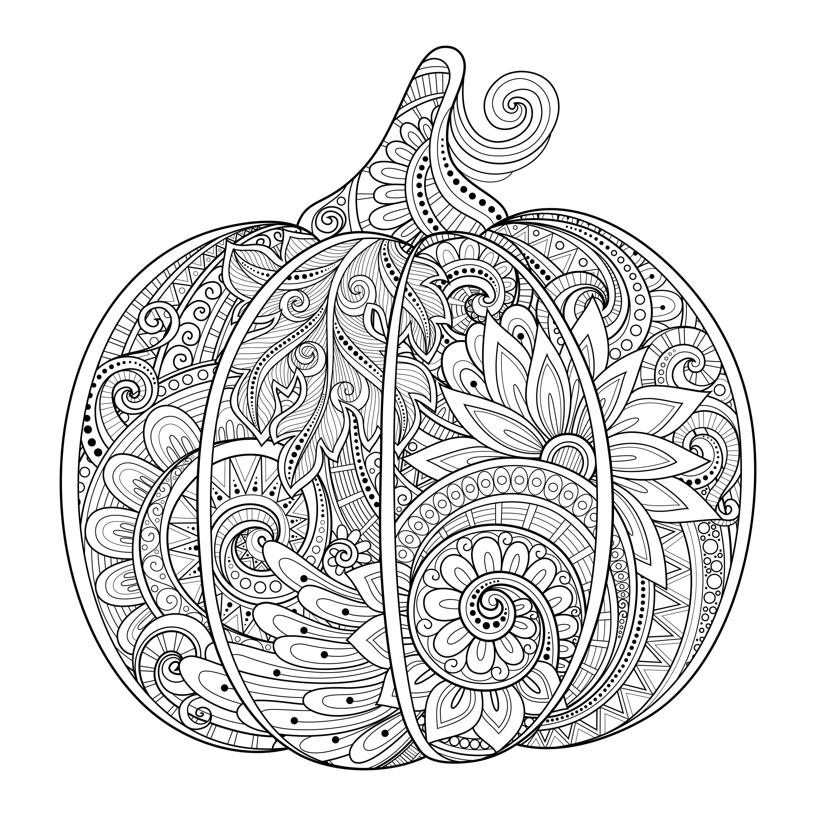 Printable coloring pages pumpkins - Free Coloring Page Coloring Halloween Pumpkin Zentangle Source 123rf Irinarivoruchko