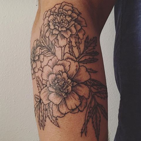 Grey i nk shaded marigold tattoos on arm   Marigold tattoo ...