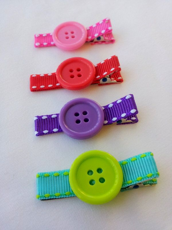 Items similar to Set of 4 clips. Button Hair clips. on Etsy