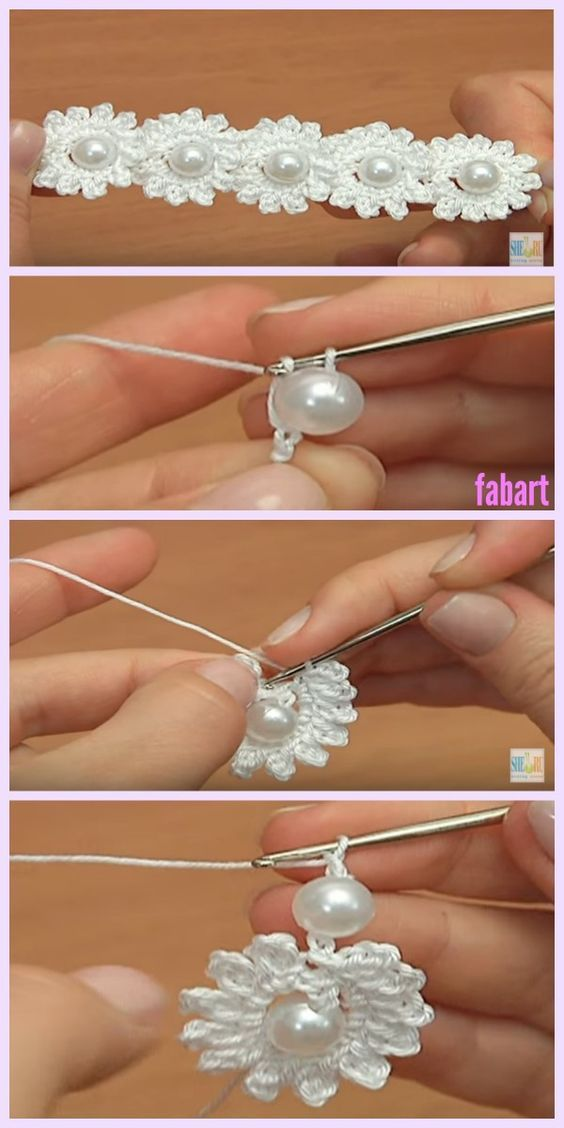 Crochet Mini Bead Flower String Tutorial | Häkeln, Häkelmuster und ...