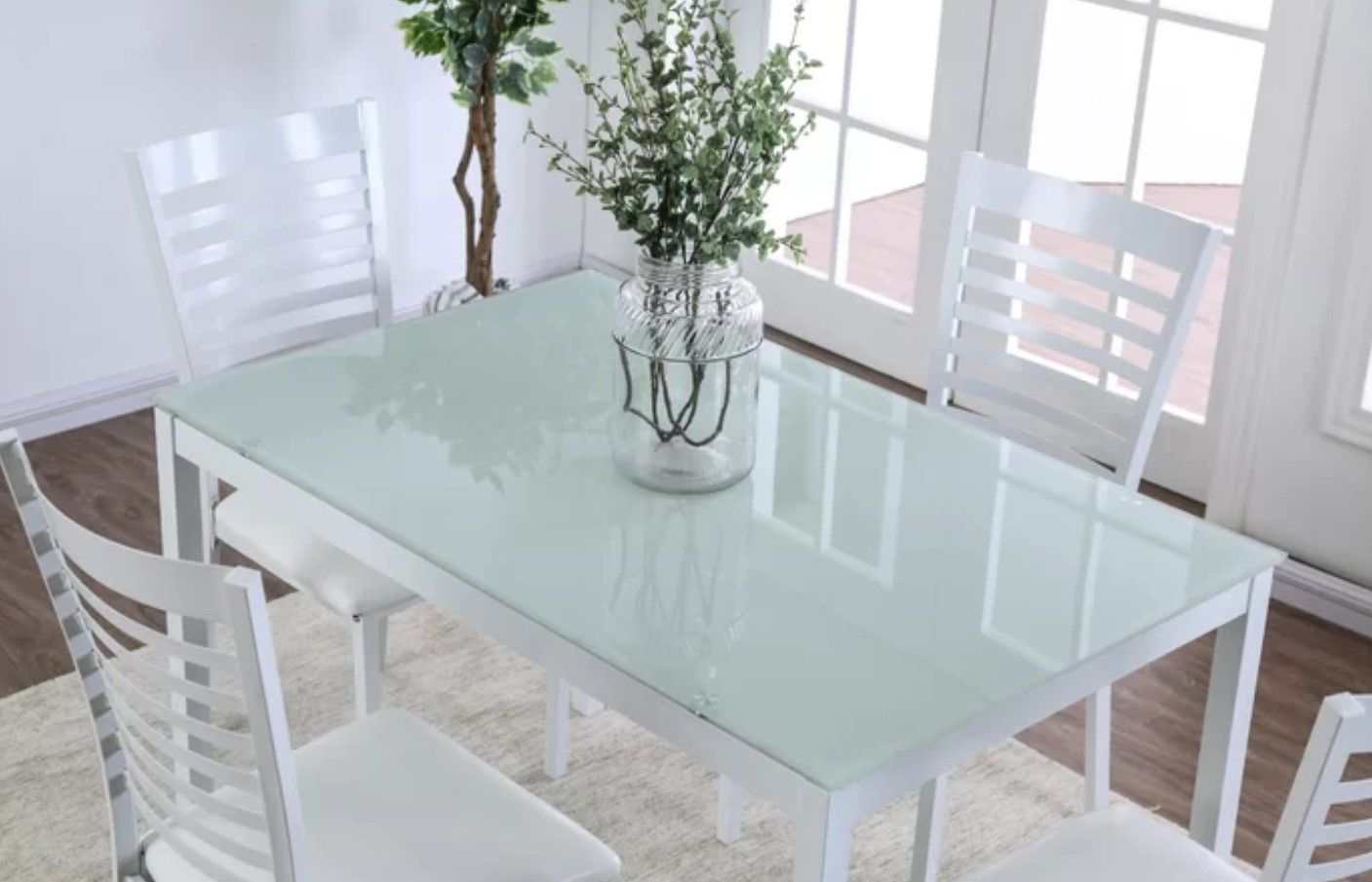 White Dining Table With Modern Green Tinted Glass White Glass