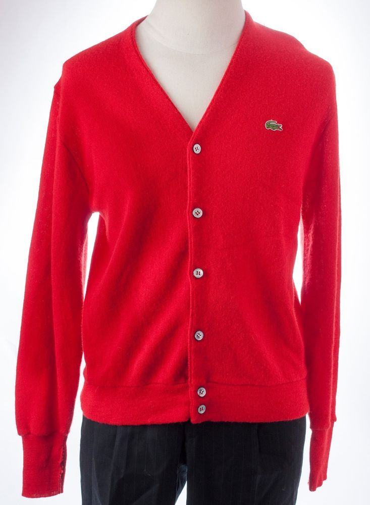 Izod Lacoste Grandpa BF Cardigan Sweater L/S Button Front Hipster ...