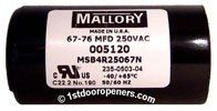 Allister 005120 Garage Door Opener Capacitor By Allstar 16 50 For Allister Allstar Mvp Garage Door Openers 67 76 Mfd Old Part Number Pe1 Le Corps