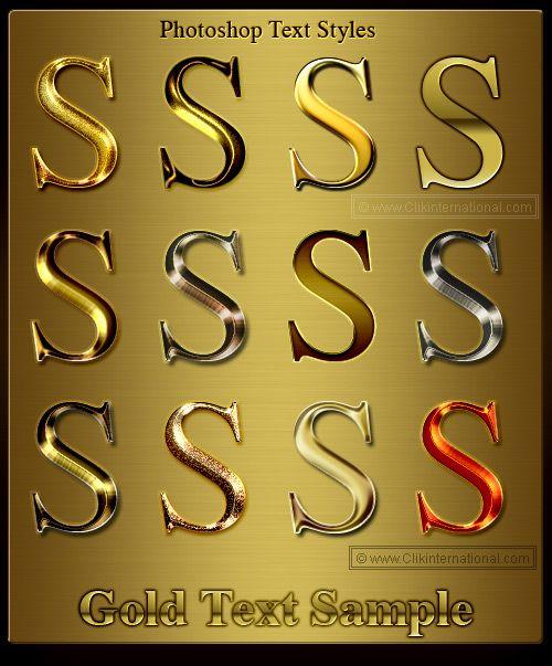 Photoshop Gold Amp Metallic Text Styles Typography