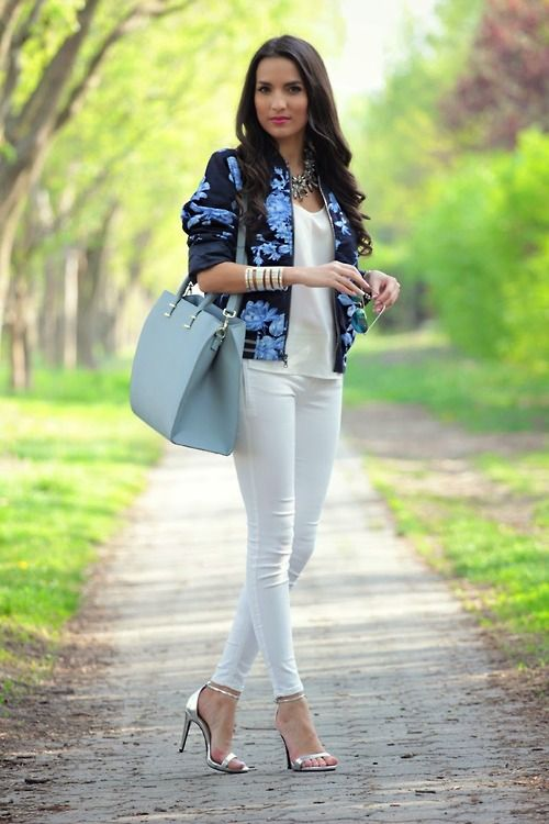 Great work outfit...GAP FLORAL BOMBER JACKET Style