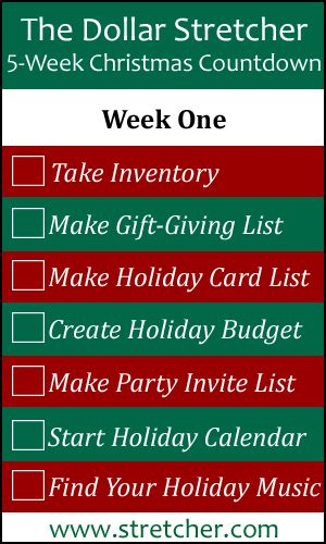 Christmas Countdown Calendar Week One Christmas countdown - christmas preparation checklist