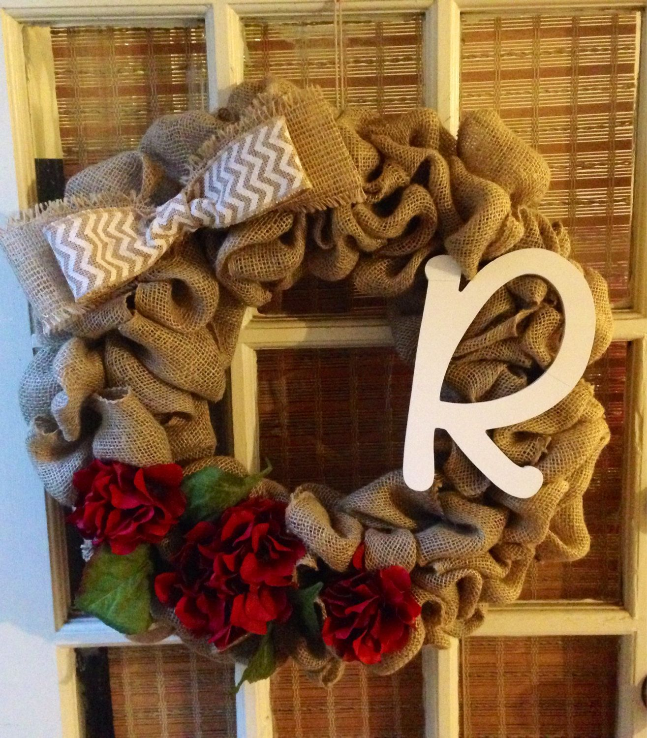 Burlap Initial Wreath by TheFrolickyFrog on Etsy