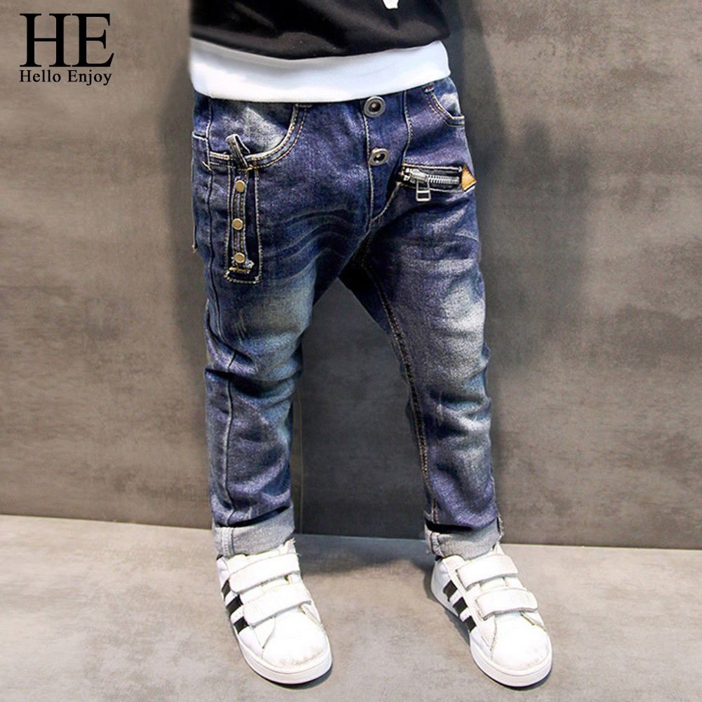 Boys Pants Cotton Elastic Casual Jeans Mid Waist Children Trousers Kids Clothing