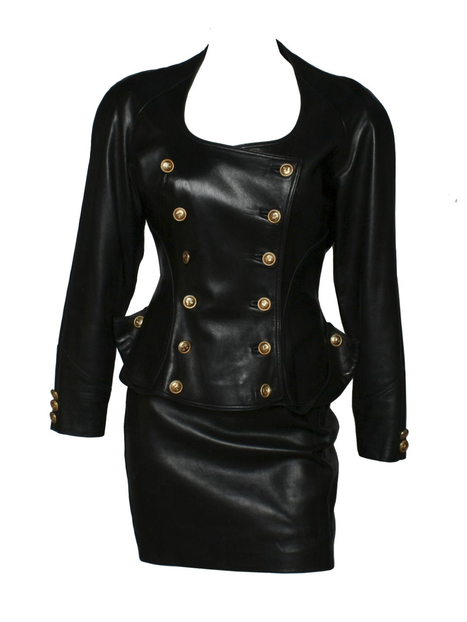 Jean Claude Jitrois Double Breasted Leather Jacket Skirt Leather Jacket Jackets Leather [ 1280 x 960 Pixel ]