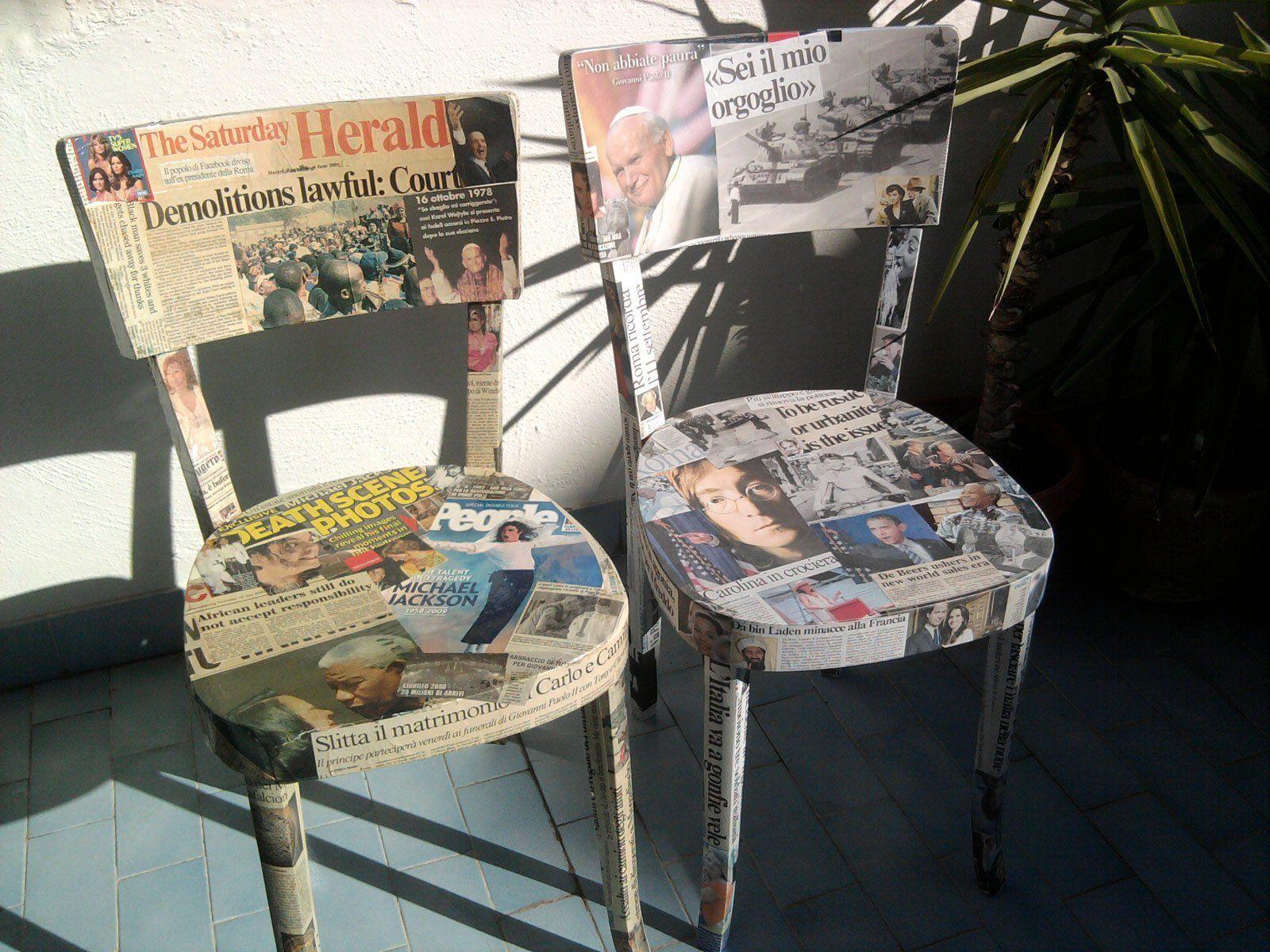 Sedie Dipinte A Mano : Sedie rivestite di giornali art on furniture pinterest