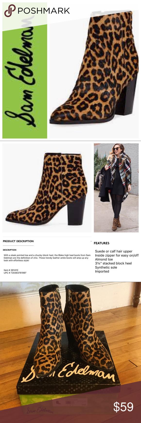 9d7f2b014 Sam Edelman Blake Leopard Brahma boots booties 9 Only worn once