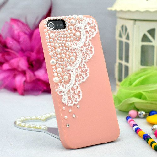 reputable site 7fa35 31aee Pink or Light green Plastic pearl beads and Lace decor phone case ...
