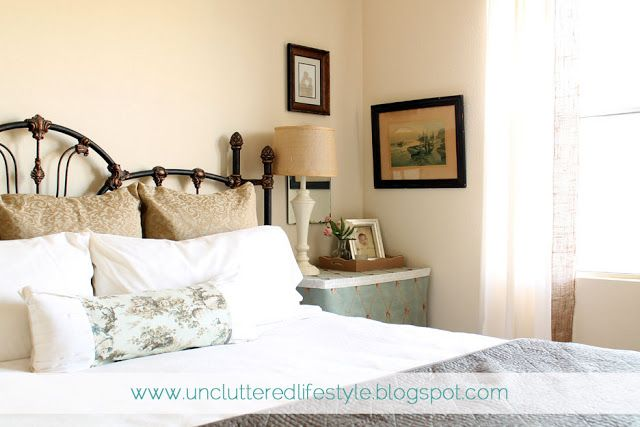 Small bedroom makeover, wrought iron bed.