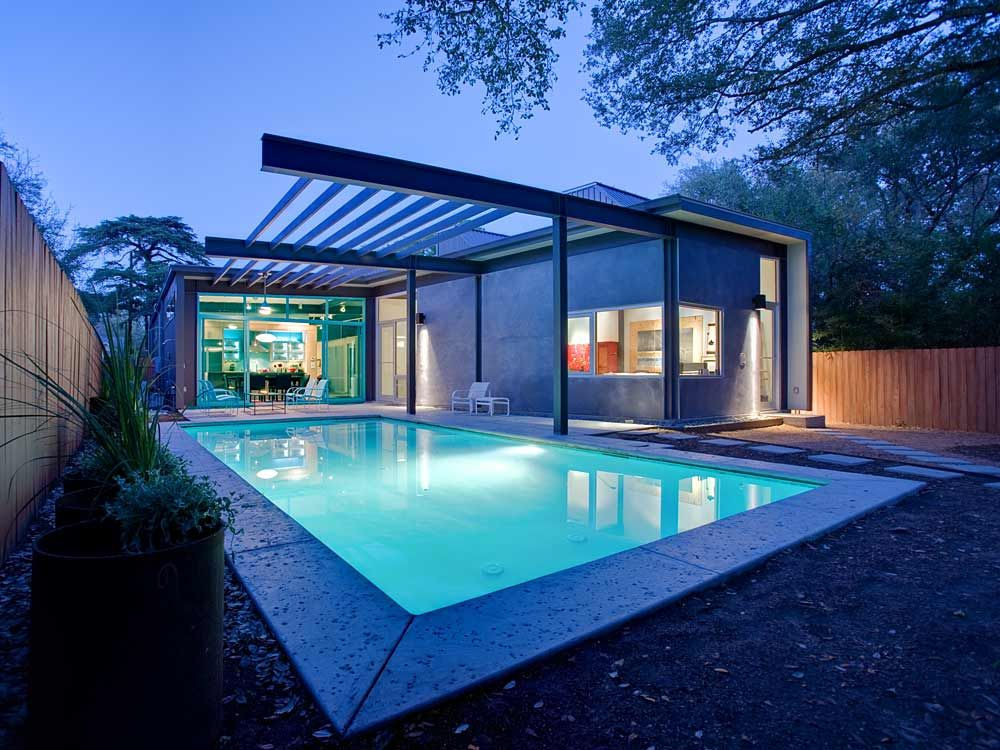 Stylishly Simple Modern One Story House Design Pool House Designs House Exterior House Design