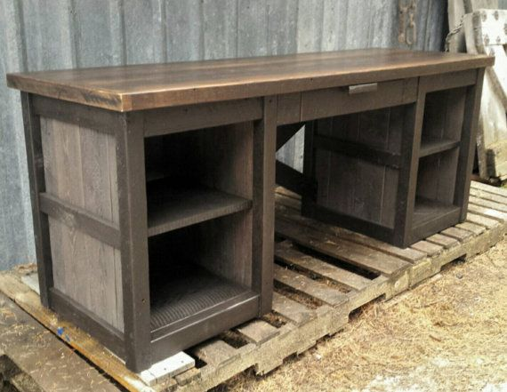 Reclaimed Wood Rustic Home Office: This Desk Is Made Entirely Of Reclaimed Montana Barnwood