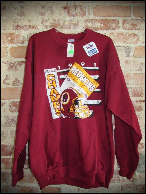 Vintage Deadstock 90 S Nfl Washington Redskins Super Bowl Crewneck Sweatshirt By Rackraidersvint Redskins Super Bowl Crew Neck Sweatshirt