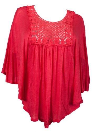 399b38835 eVogues Plus Size Crochet Bodice Poncho Top Coral - 2X, Women's, Orange