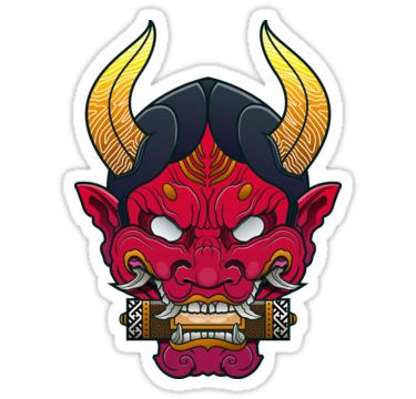 Hannya Mask Sticker By Satoriartwork In 2021 Japanese Demon Mask Japanese Mask Tattoo Japanese Tattoo