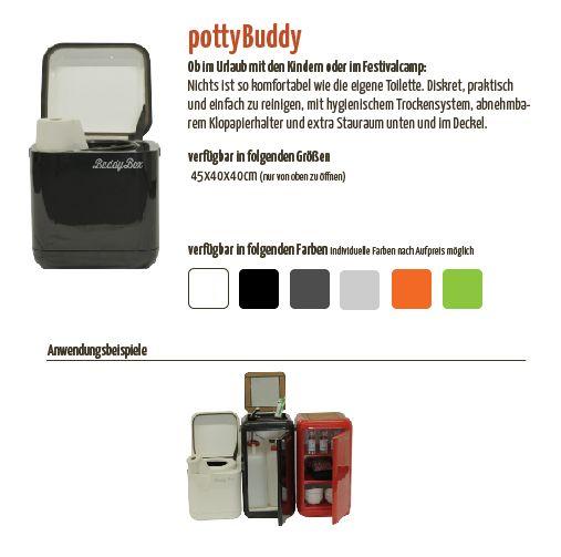 PottyBuddy (Reisetoilette/ Trockentoilette)(40x40x45 Cm)  Inkl.Befestigungsbolzenfür CSchiene 499,