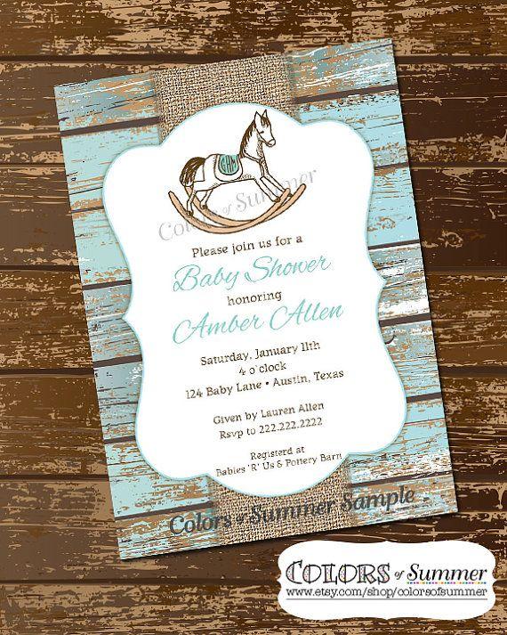 Rocking Horse Baby Shower Invitation Rustic Invite White Wash Wood