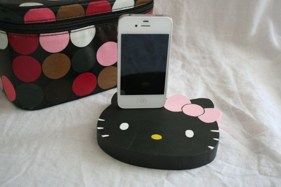 Hello Kitty iPhone/ iPod Charger Black by iBigfoot on Etsy, $27.99