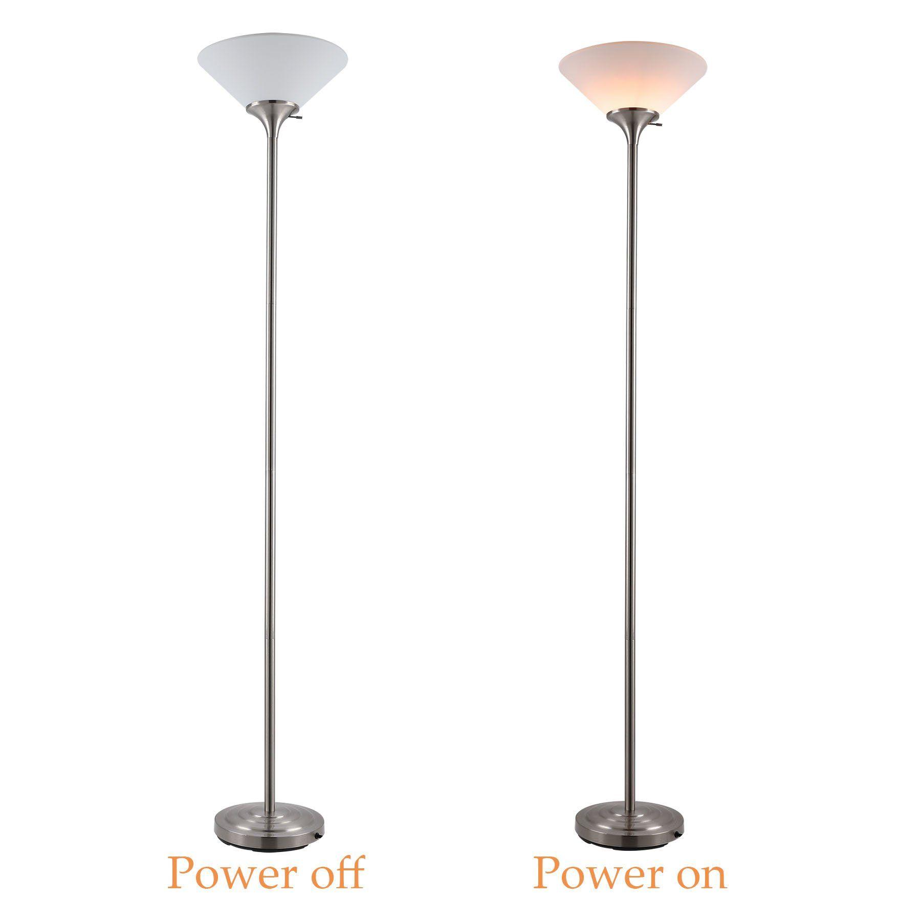 Coz Brushed Steel Tall Floor Lamp For Living Room Bedroom Home Office 71 Standing Uplight Floor Lamp With 14 Shade 150w Torchiere Floor Lamp Lamp Standing Lamp