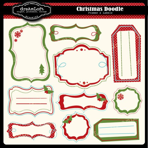 Christmas Doodle Frames & Labels Fun and whimsical frames great for ...