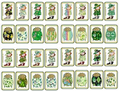 Leprechaun-PotOfGold Pattern Match Cards for memory or other cards ...