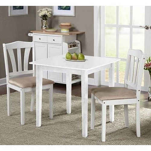 Bistro Set 3 Piece Dining Table And Chairs White Wood Modern ...