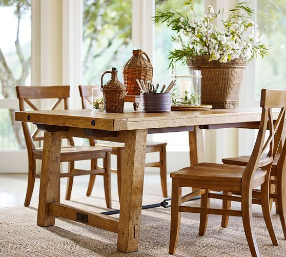 benchwright extending table and set of 6 aaron chairs - medium